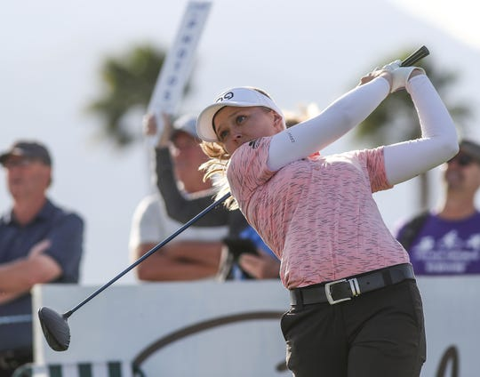 Brooke Henderson tees off on the 9th hole at the ANA Inspiration at Mission Hills Country Club in Rancho Mirage, April 4, 2019.