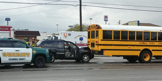 A multi-vehicle crash involving a school bus Friday morning in Pensacola resulted in one injury. An adult male was transported to Sacred Heart Hospital, according to an Escambia County spokeswoman.