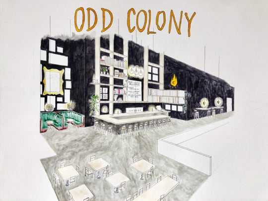 An unfinished sketch shows what Odd Colony Brewing Co. will look like it when it opens in Pensacola this summer. The eclectic taproom is influenced by vinyl music, local artists and the natural world.