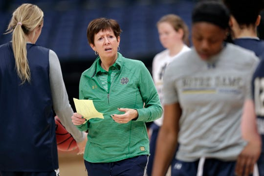 Notre Dame head coach Muffet McGraw directs her team during practice at the women's Final Four NCAA college basketball tournament, Thursday, April 4, 2019, in Tampa, Fla. Notre Dame faces Connecticut in a national semifinal on Friday.