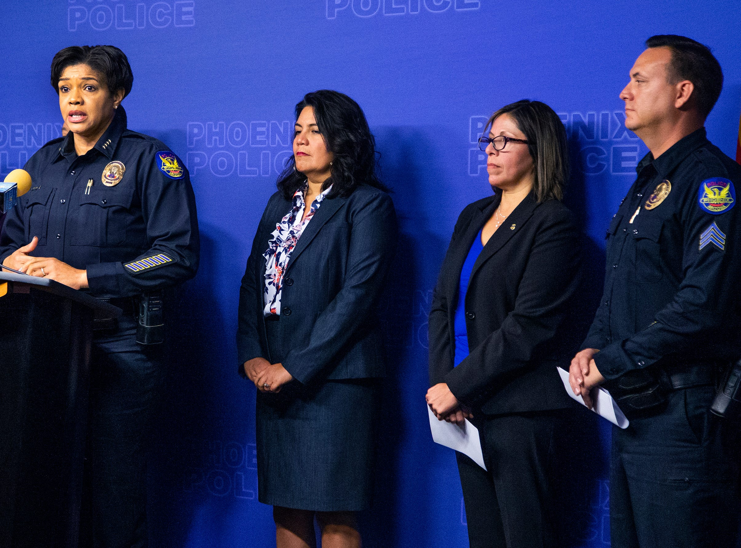Phoenix Police Chief Jeri Williams announces April 5, 2019, that Phoenix police identified and arrested 20-year-old Joshua Gonzalez as a suspect in the fatal shooting of 10-year-old Summer Bell Brown April 3.