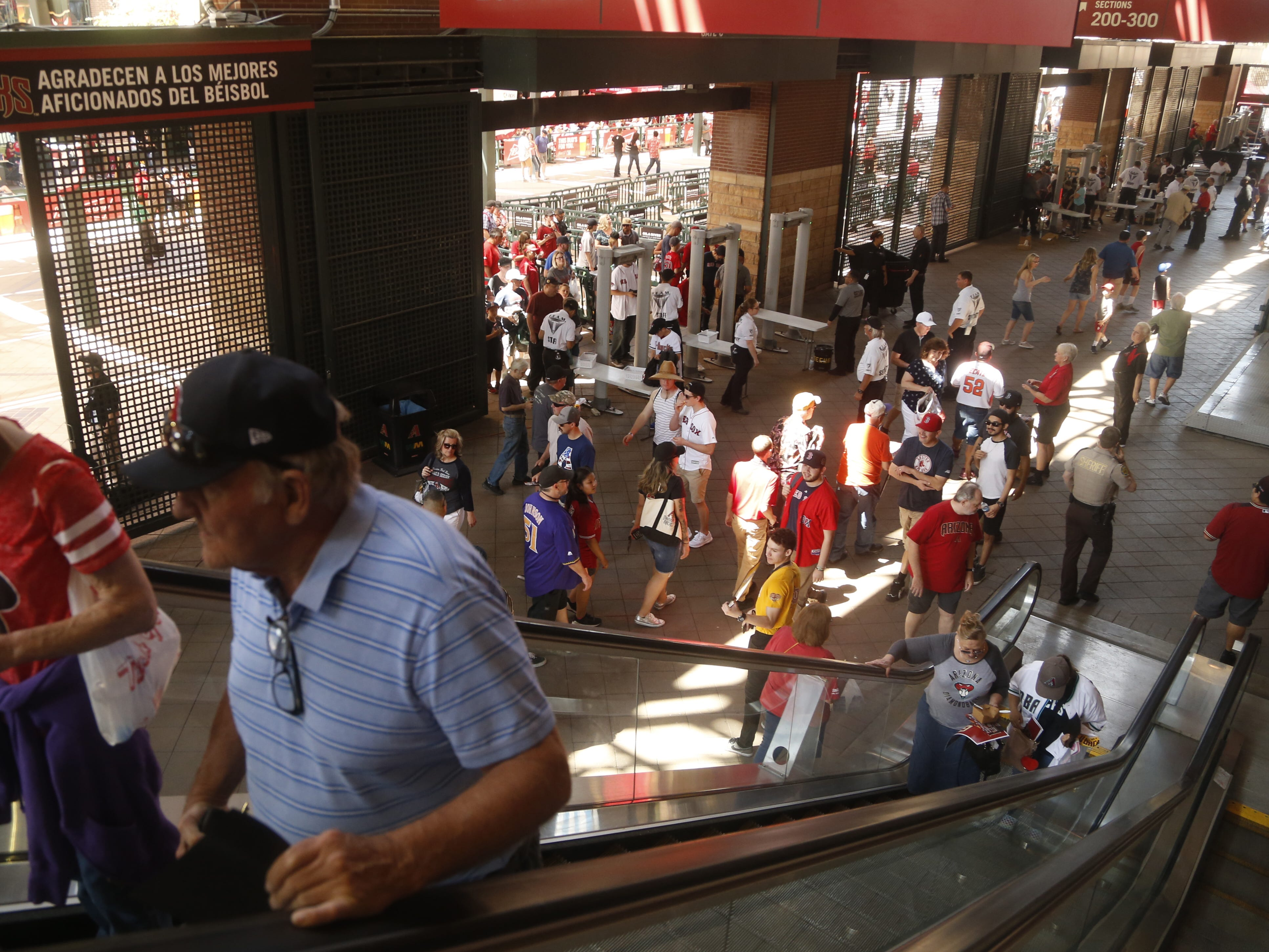 Fans arrive at Chase Field on the Opening Day for the Diamondbacks vs Red Sox in Phoenix, Ariz. on April 5, 2019.