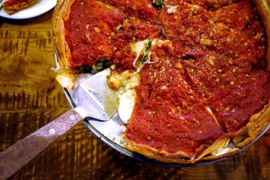 Stuffed deep dish pizza at Giordano's