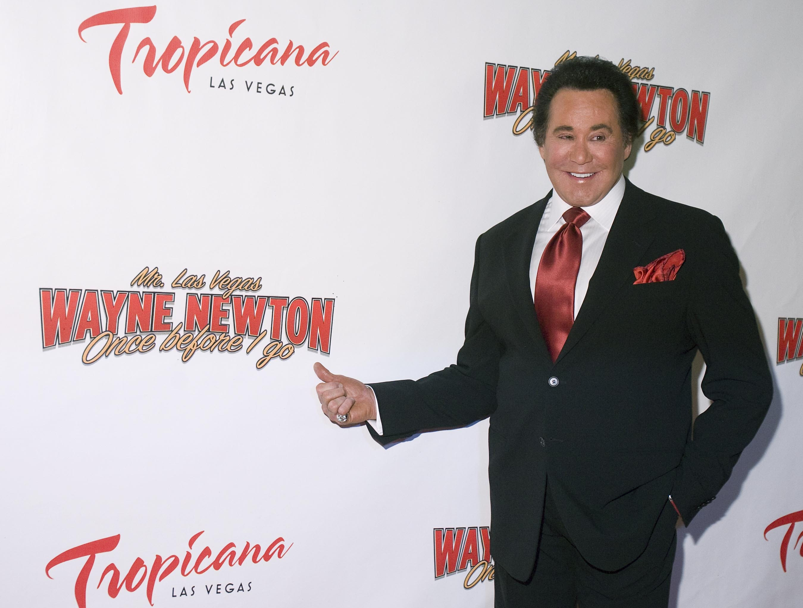Wayne Newton poses on the red carpet for the grand opening of his new Las Vegas show, Once Before I Go, on Wednesday, Oct. 28, 2009.
