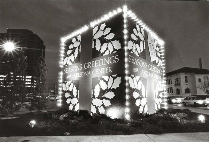 Christmas decorations at the Arizona Center in 1988.