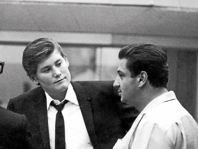 Wayne Newton (left) and musician Tommy Tedesco work in the studio in an undated photograph.