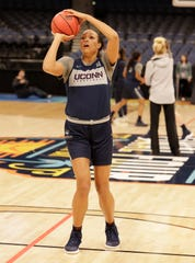 Connecticut forward Napheesa Collier (24) shoots during a practice session for the women's Final Four NCAA college basketball semifinal game Thursday, April 4, 2019, in Tampa, Fla. UConn faces Notre Dame on Friday.