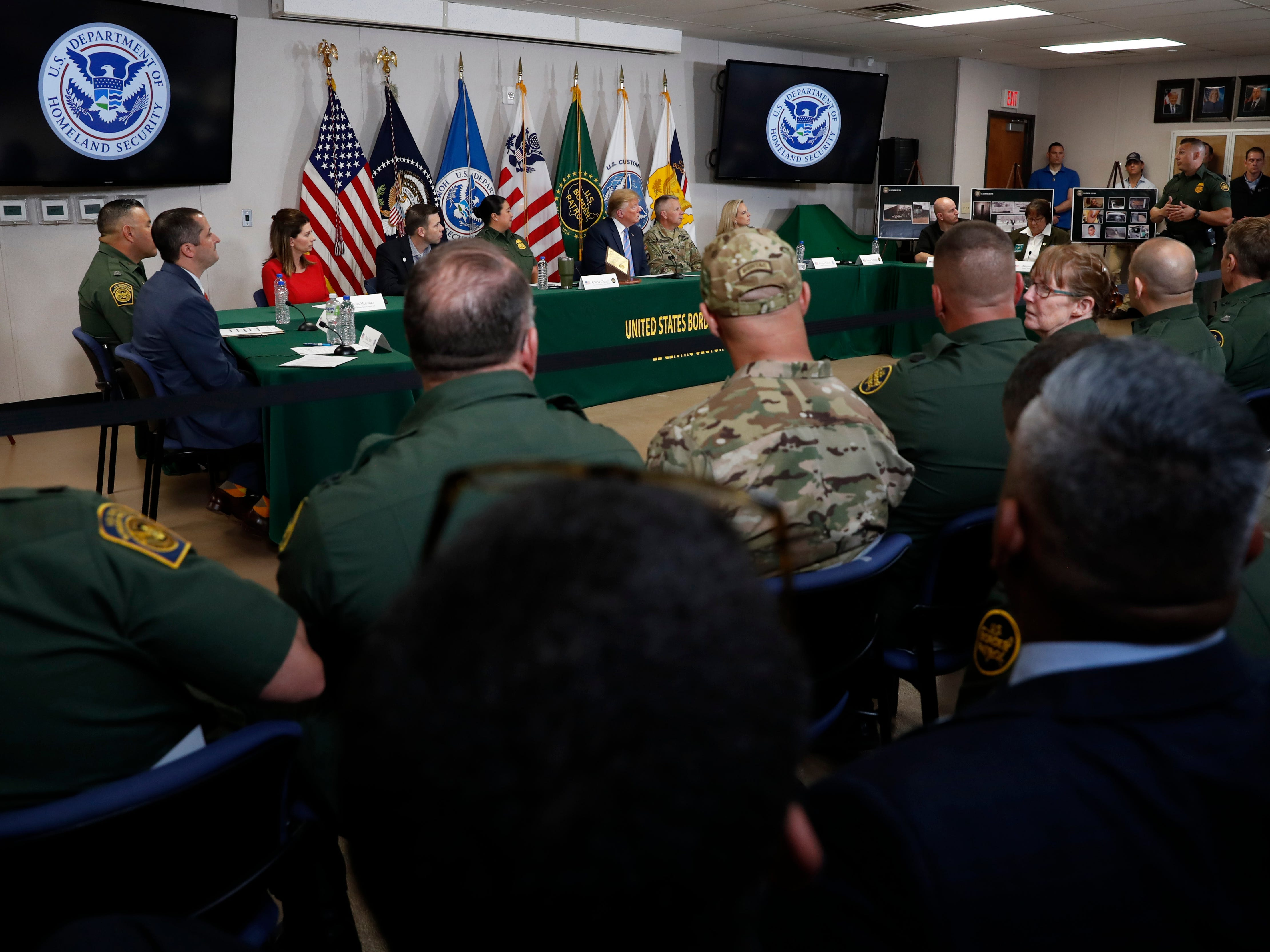 President Donald Trump participates in a roundtable on immigration and border security at the U.S. Border Patrol Calexico Station in Calexico, California, April 5, 2019.