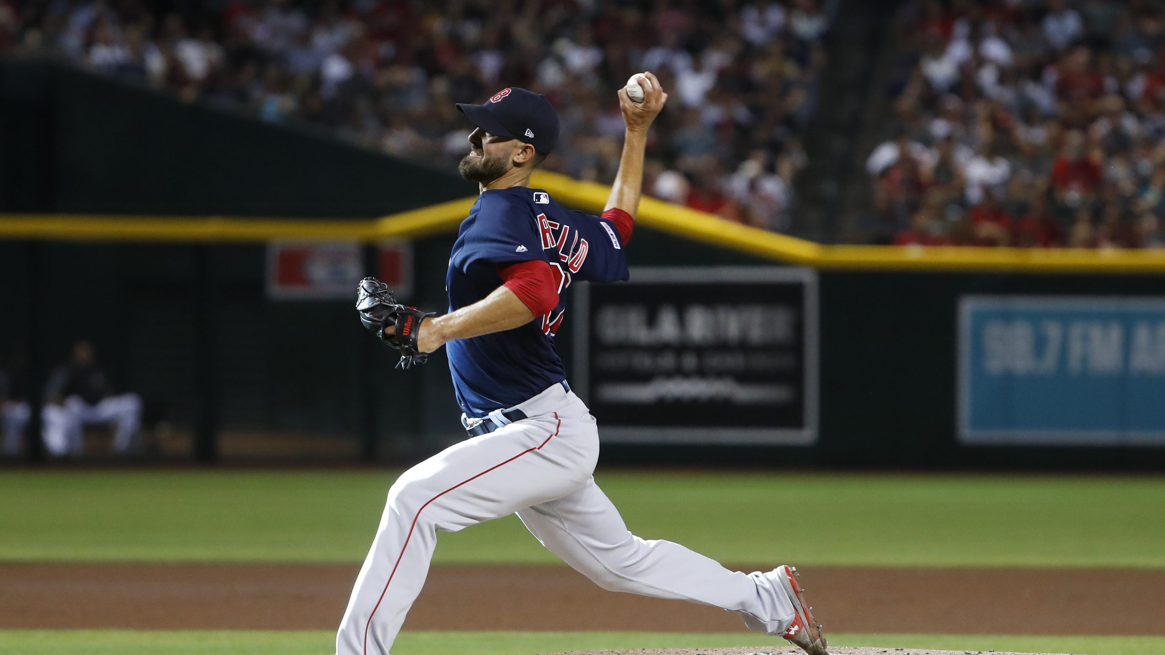 Red Sox pitcher Rick Porcello (22) pitches agains the Diamondbacks during the first inning at Chase Field on the Opening Day for the Diamondbacks in Phoenix, Ariz. on April 5, 2019.