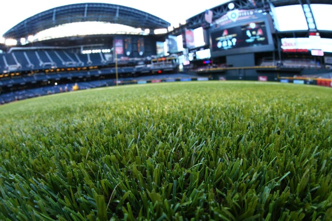 A detailed view of the Diamondbacks' new synthetic grass.