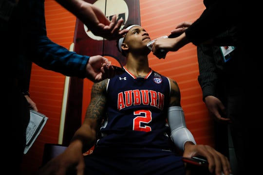 Auburn's Bryce Brown answers questions after a practice session for the semifinals of the Final Four NCAA college basketball tournament, Thursday, April 4, 2019, in Minneapolis.