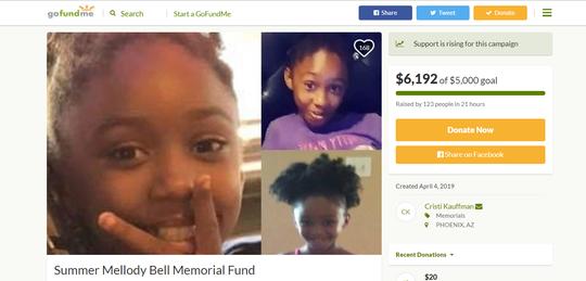 Una cuenta de GoFundMe fue abierta para costear los gastos funerarios de Summebell Brown, la niña de 10 años que fue ultimada a tiros en un incidente de tráfico.