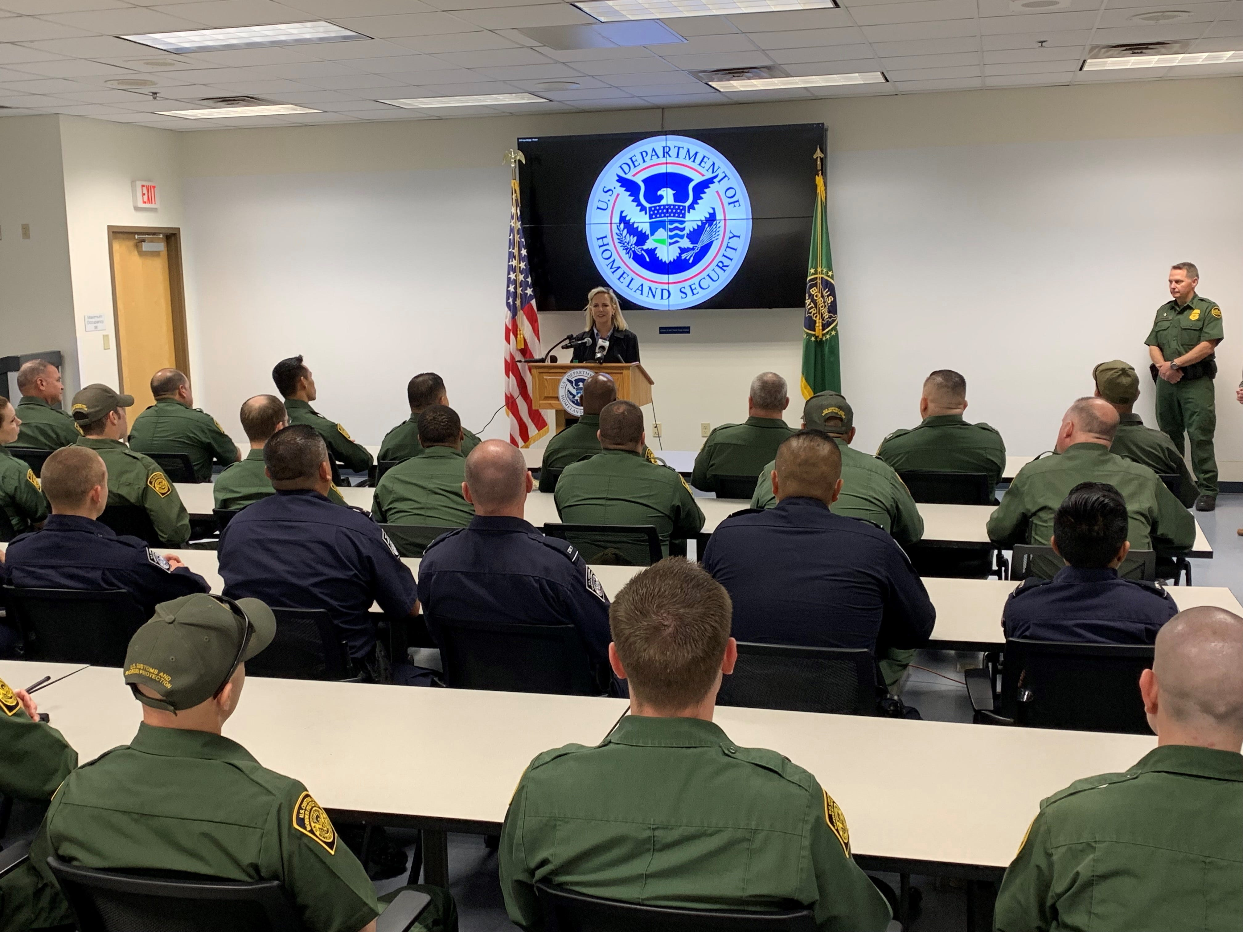 Homeland Sec. Kirstjen Nielsen addresses U.S. Border Patrol agents and customs officers at the Yuma Border Patrol station on April 4, 2019.