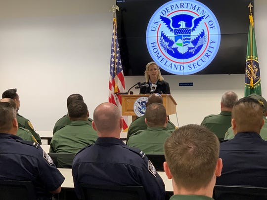 Homeland Sec. Kirstjen Nielsen addresses U.S. Border Patrol agents and customs officers at the Yuma Border Patrol station on April 4, 2019. It's her fourth visit to Yuma in the past two years.