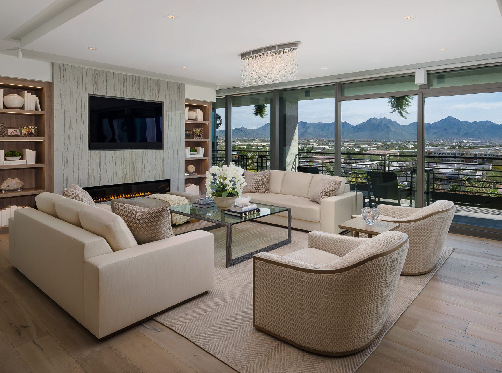 The homeowners purchased three condominiums and worked with architects to design the area into one spacious home.