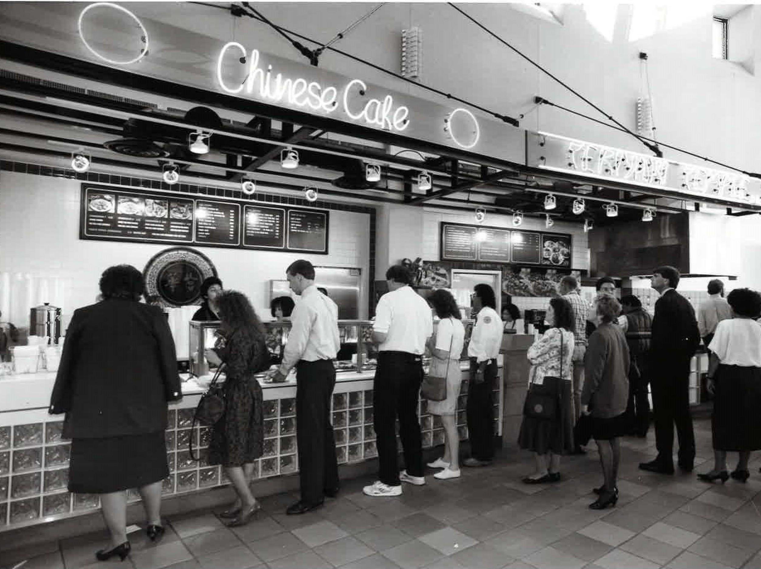 The food court at the Arizona Center in 1991.