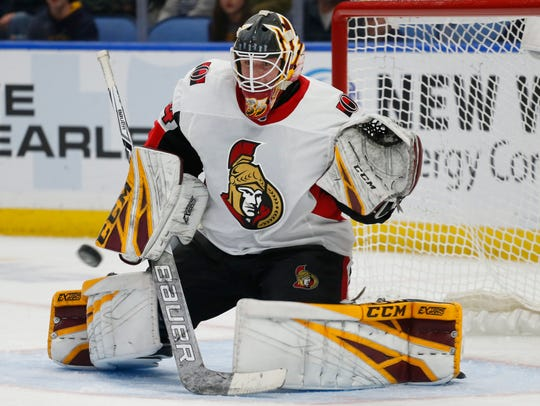 Ottawa Senators goalie Joey Daccord makes a save during the third period of the team's NHL hockey game against the Buffalo Sabres on Thursday, April 4, 2019, in Buffalo, N.Y.