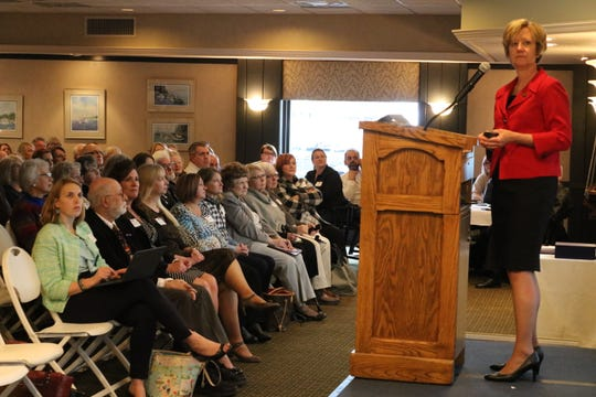 Mary Mertz, new director of the Ohio Department of Natural Resources, speaks to dozens of local Lake Erie tourism business owners, public officials and other stakeholders at the 2019 State of Tourism Address at the Catawba Island Club on Thursday.