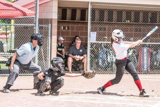 Emma Trombly takes a swing during a game this season.