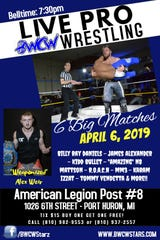 """Blue Water Championship Wrestling returns to the American Legion Post No. 8 on Saturday, April 6, with """"In Your Face."""""""
