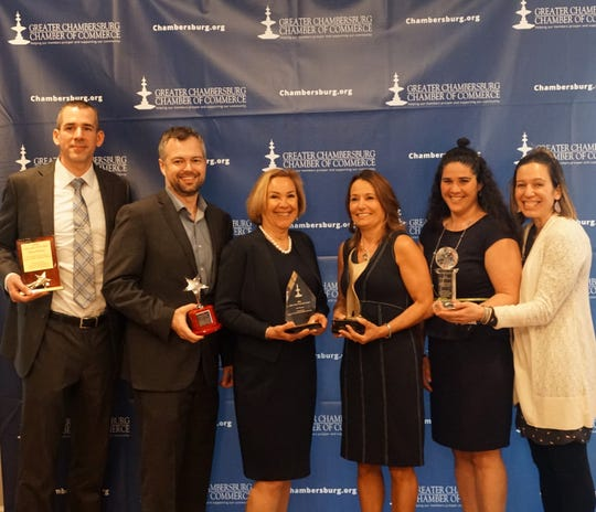 Some of the award winners at the Greater Chambersburg Chamber of Commerce annual awards banquet on April 4, 2019: (From left) Jesse Whitney, Blake Truman, Patti Nitterhouse, Karen Johnston, Christy Unger and Kira coy.