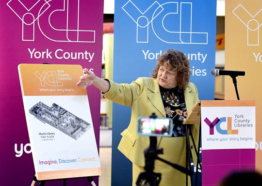 Martin Library Director Mina Edmondson introduces a concept draft of upgrades to Martin during a press conference at the library Friday, April 5, 2019. York County Libraries announced expansion plans for Martin, Kreutz Creek and Kaltreider-Benfer libraries during the event. Bill Kalina photo