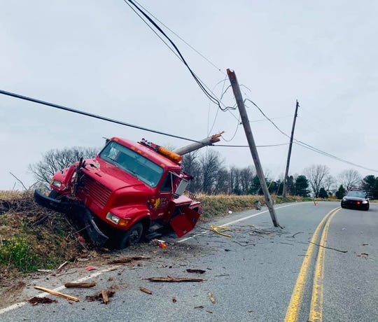 The driver of this truck escaped serious injury when he crashed into a utility pole, snapping it, on Mount Pisgah Road in Hellam Twp. on April 5, 2019.