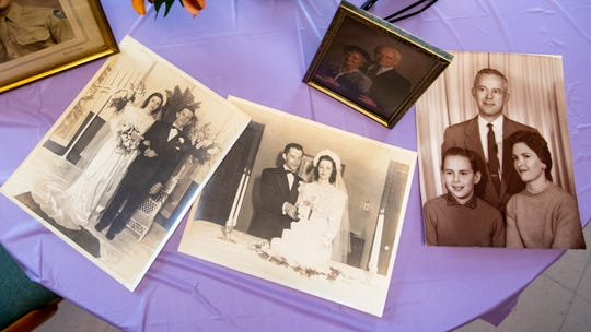 Ann Diehl married Burnell on April 5, 1946. Some of her favorite photos of them sit at her table during the wedding anniversary party.