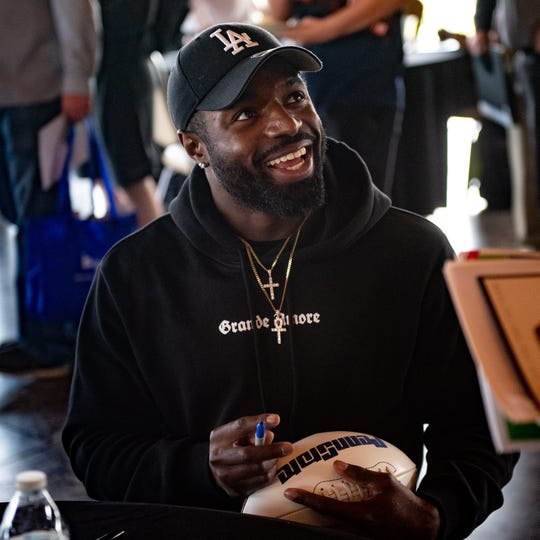 Penn State safety Nick Scott greets fans with a smile during the 55th Annual York Area Sports Night, April 4, 2019 at the Heritage Hills Golf and Conference Center.