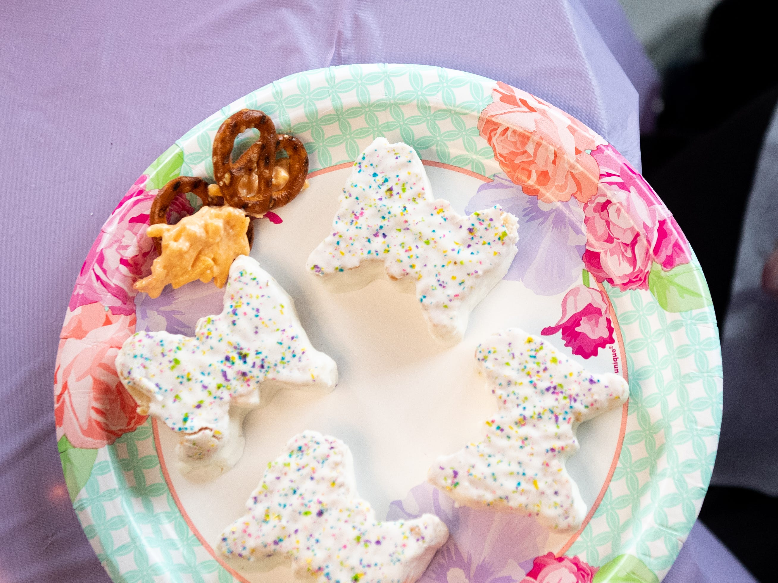 Butterfly shaped pastries are served at  Ann Diehl's 73rd wedding anniversary party, April 5, 2019. They're her favorite insect.