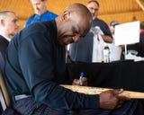 Baseball super fan Sean Umbenhouer got his authentic Montreal Expos base autographed by hall of famer Andre Dawson at the 2019 York Area Sports Night.