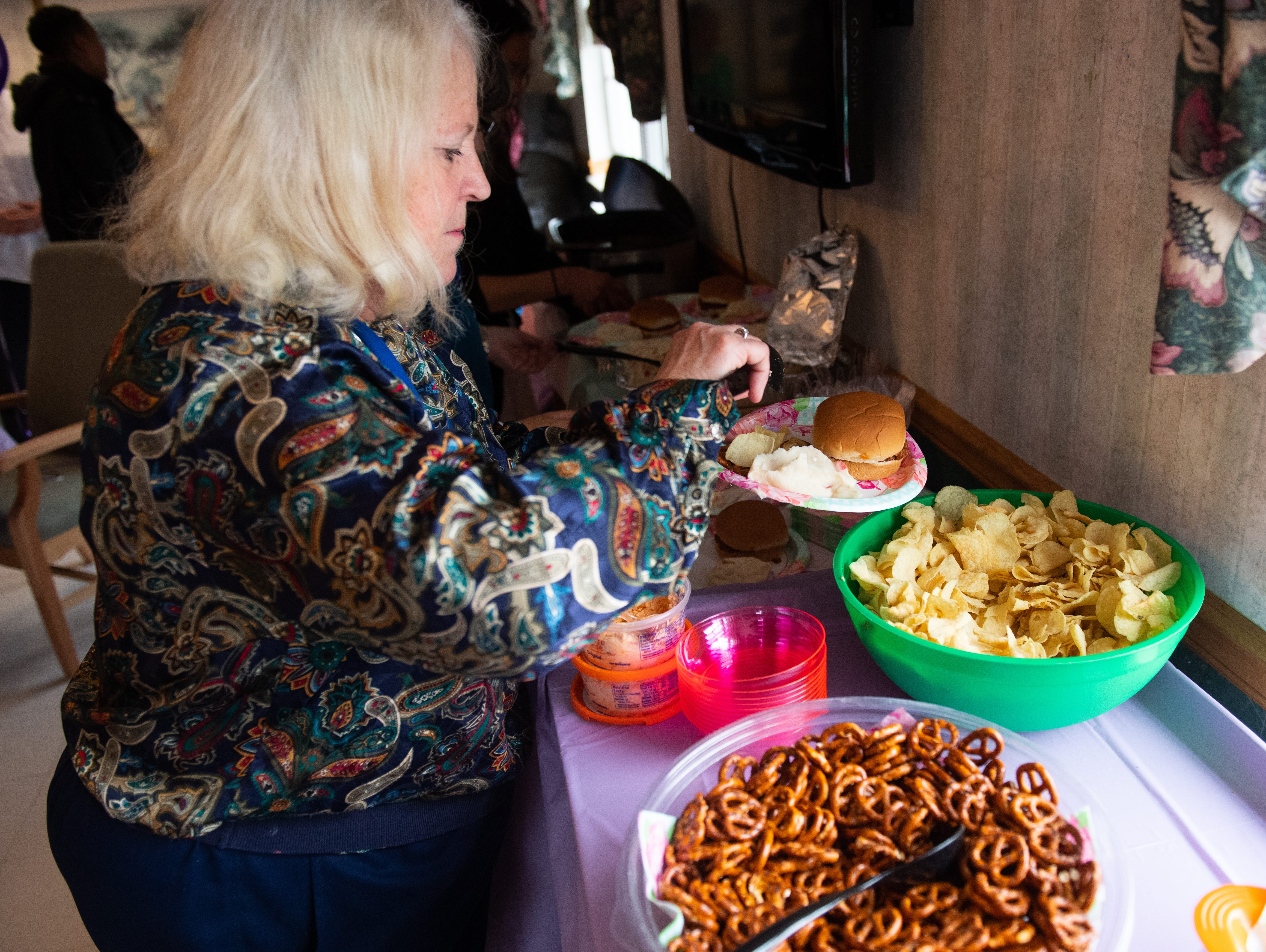 Sloppy Joe's, mashed potatoes, palmetto cheese, punch and much more made sure everyone at the wedding anniversary left with full stomaches, April 5, 2019.