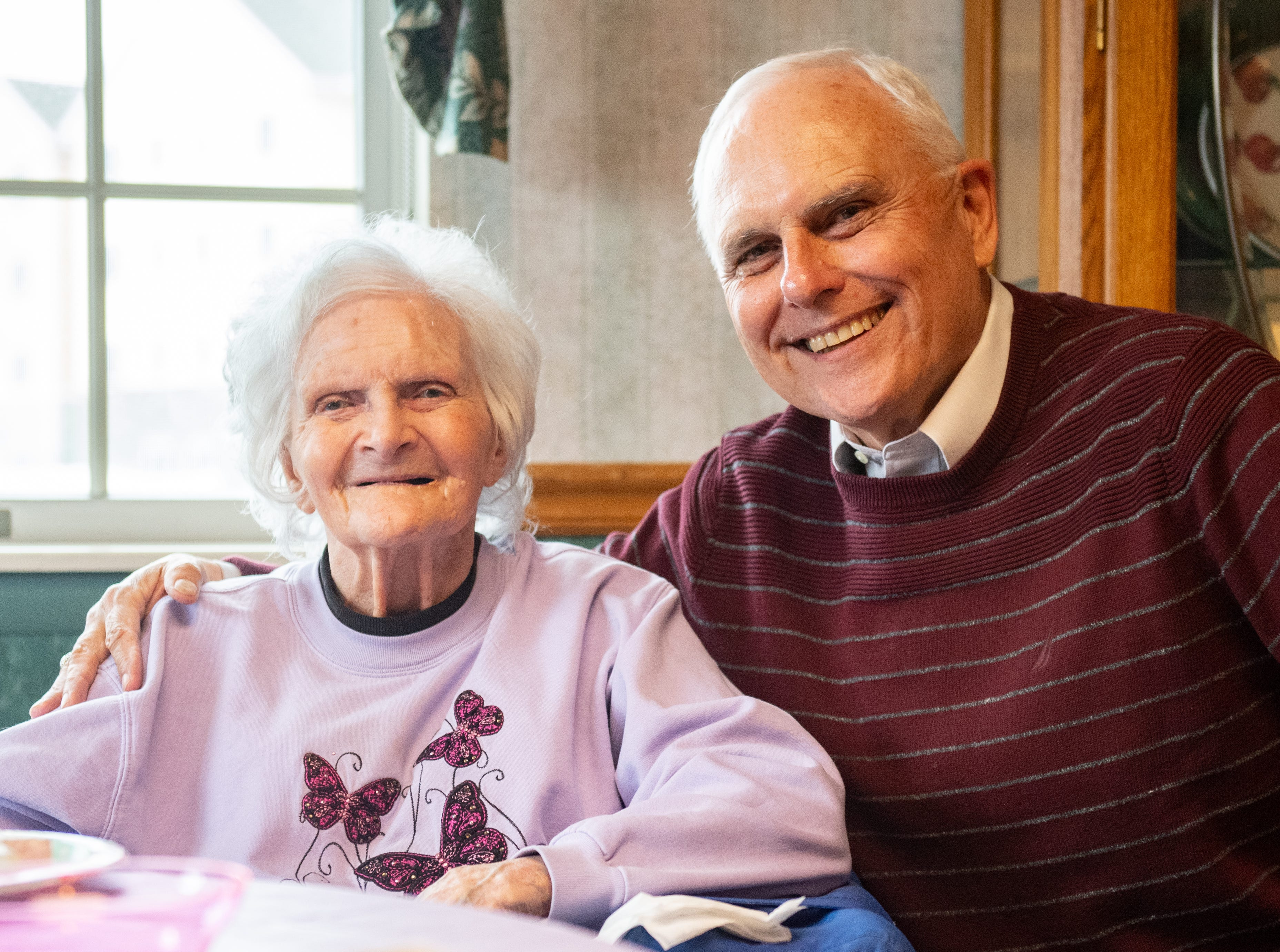 On April 5, 2019, Ann Diehl, 94, celebrated her 73rd wedding anniversary at ManorCare and Heartland Hospice. She sits next to her son, Tom Diehl.