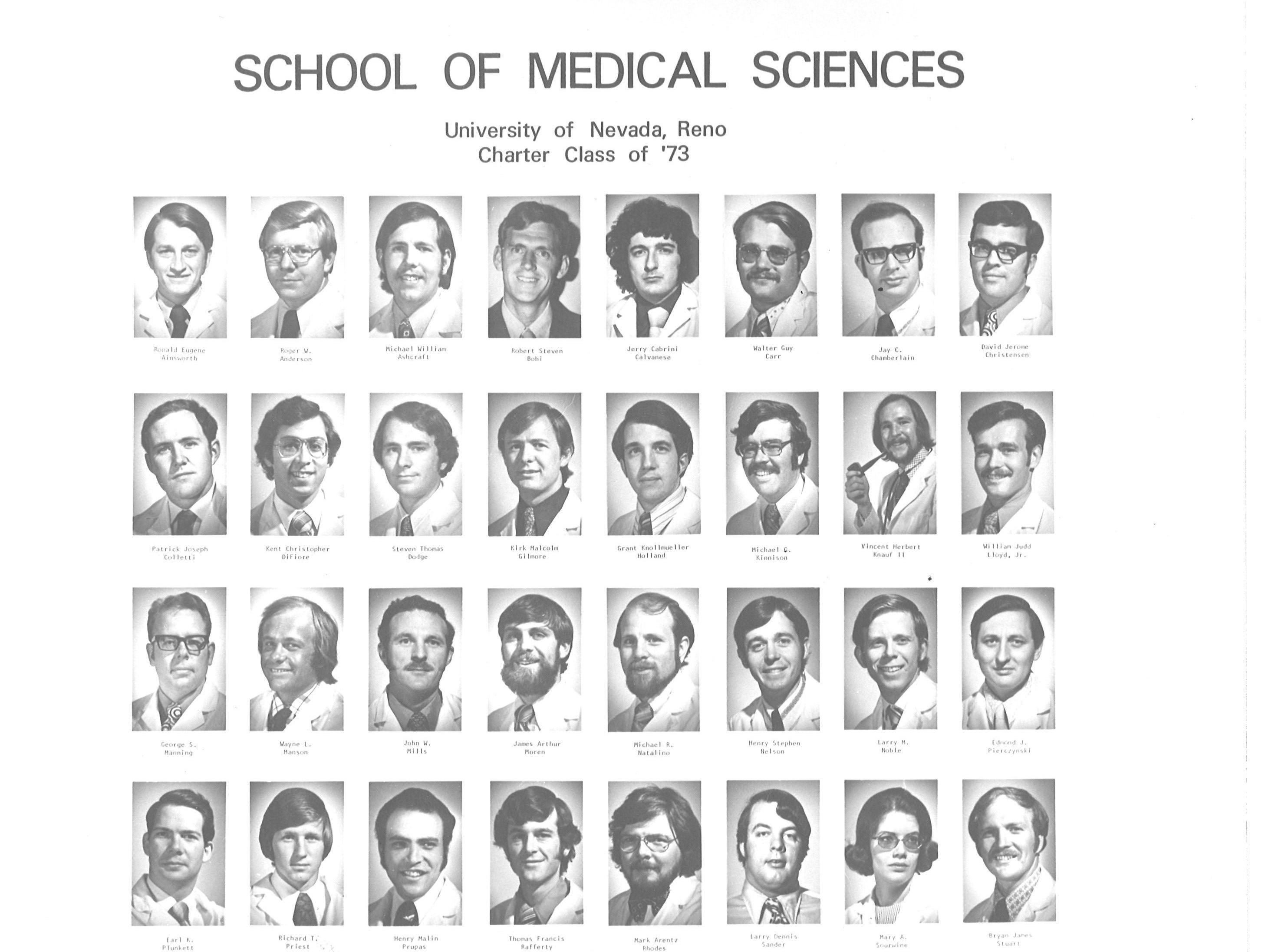 Dr. Pat Colletti, far left, second row with the University of Nevada, Reno School of Medicine