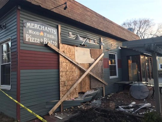 Merchants Wood-Fired Pizza and Bistro was damaged after a car crashed into the eatery on April 3, 2019