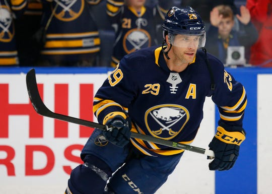 Buffalo Sabres forward Jason Pominville (29) skates prior to Thursday's game against the Ottawa Senators. The former Amerks star scored his 217th goal as a Sabre, 10th all-time.