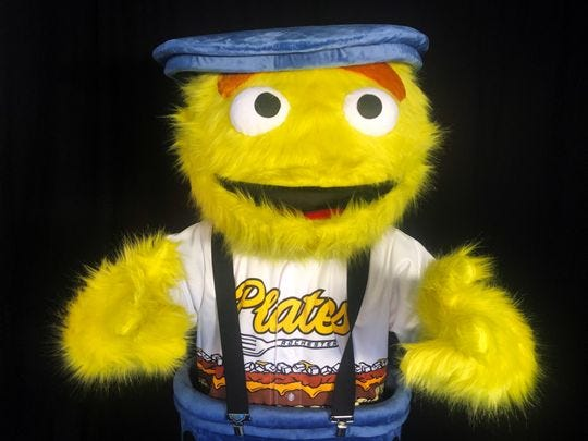 Expect to see another mascot at Frontier Field this season. Mac, a mascot for the Rochester Plates, joins Spikes and Mittsy.