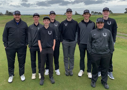 The U-Prep golf team poses Thursday at the Bandon Dunes Golf Resort in Oregon.