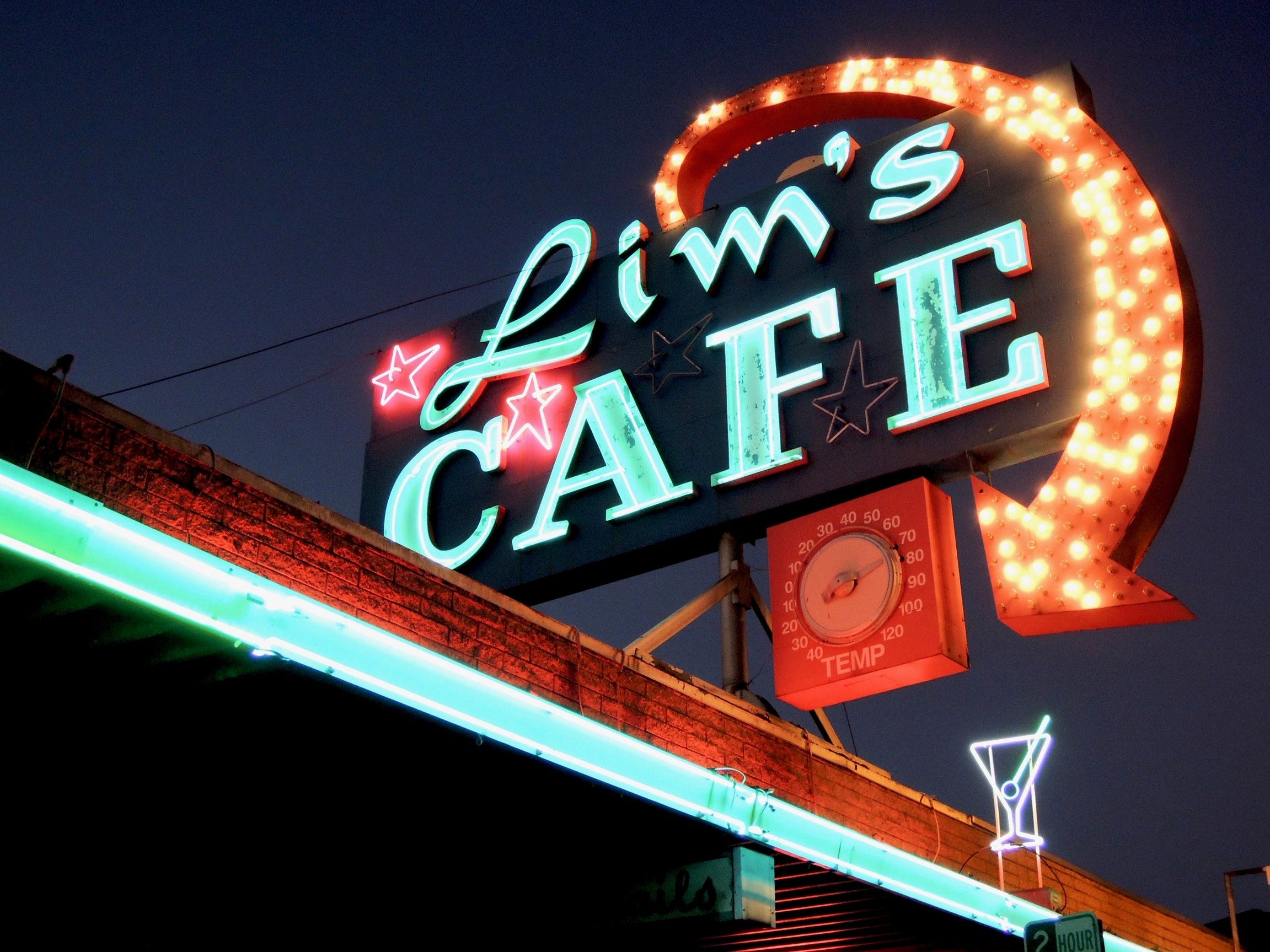 The iconic Lim's neon sign on North Market Street in Redding.