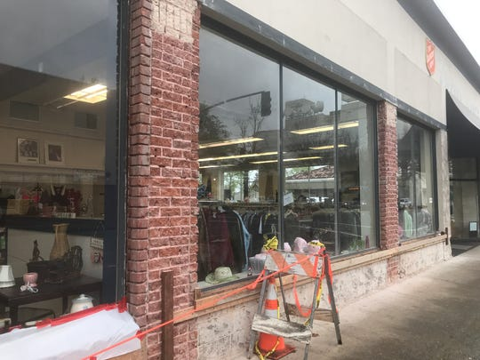 Exterior work on the 1557 Pine St. building in downtown has started.