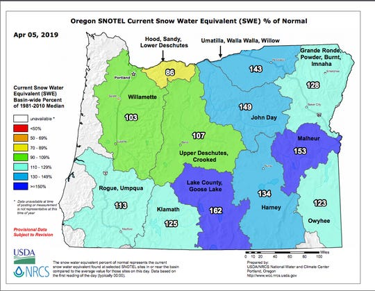Oregon snowpack as of April 5.