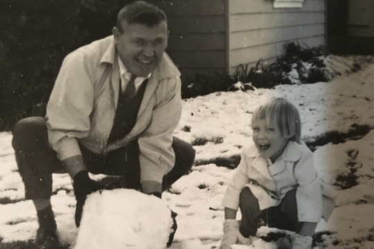 Bud Lade (left), shown here with his daughter Landa Peake in Salinas in 1962, encouraged his kids to try as many sports as possible as he had.