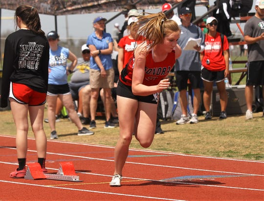 Sonora High School's Mary Kyle Johnson comes out of the starting blocks in the preliminaries of the girls 400 meters at the District 4-3A Track and Field Meet Friday, April 5, 2019, in Ballinger.
