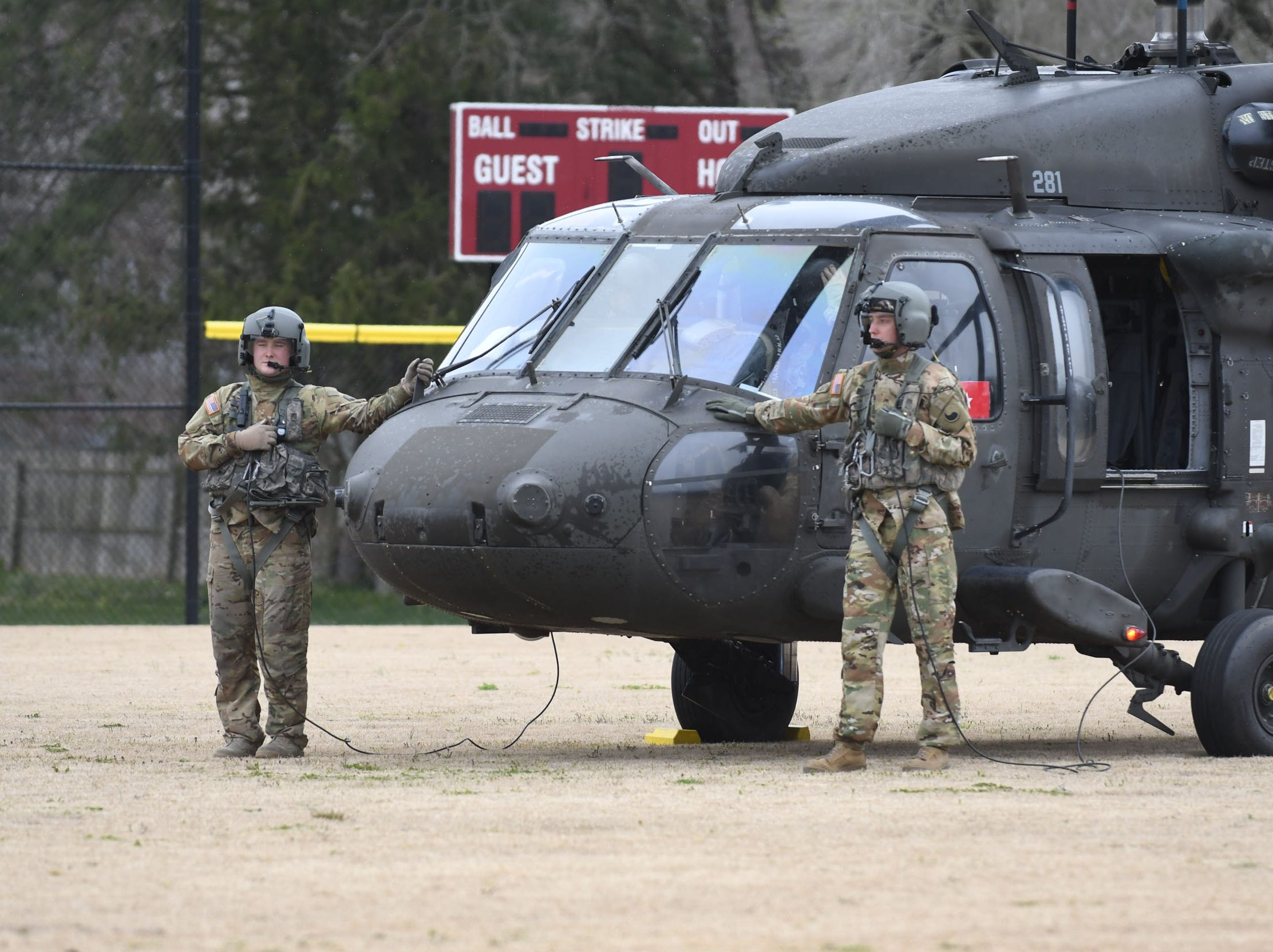 Snow Hill Alumni General Janeen Birckhead and her team landed on the Snow Hill High School baseball field in a  UH60 Black Hawk helicopter. General Birckhead and her team of leaders spoke with the students about leadership and making good decisions on Friday, April 5, 2019.