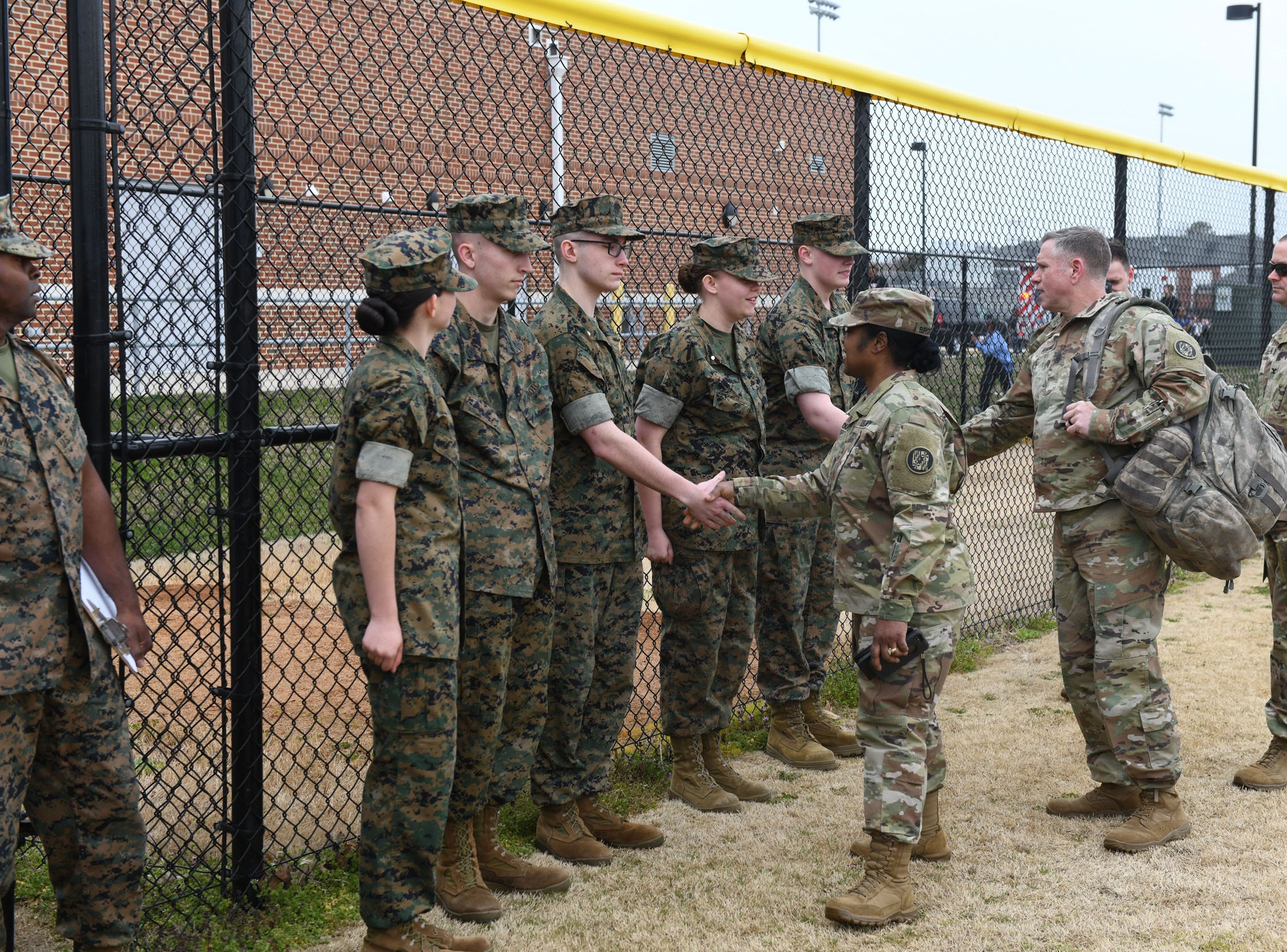 Snow Hill High School MCJROTC greats Snow Hill Alumni General Janeen Birckhead and her team landed on the baseball field in a UH60 Black Hawk helicopter on Friday, April 5, 2019.