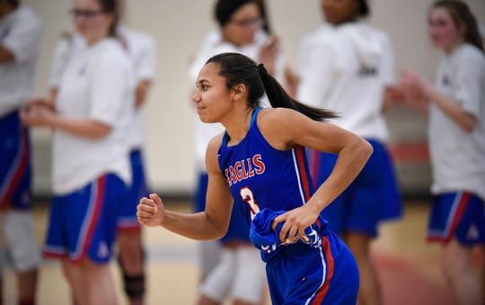 Lariah Washington takes the court to start the Thursday, Jan. 17, game against Rocori at Apollo High School in St. Cloud.
