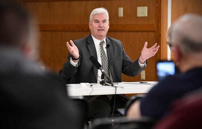U.S. Rep. Tom Emmer speaks during a town hall meeting in this Feb. 21, 2019, file photo in Melrose.