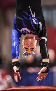 Abby Weber competes for Sartell in the vault during 2019 Minnesota gymnastics Class A team competition Friday, Feb. 22, at Maturi Pavilion in Minneapolis.