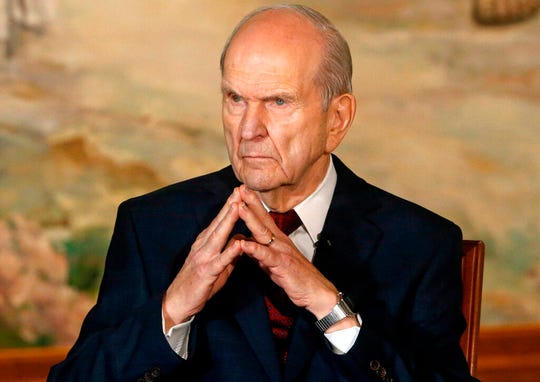 FILE - In this Jan. 16, 2018, file photo, President Russell M. Nelson looks on following a news conference, in Salt Lake City. The president of The Church of Jesus Christ of Latter-day Saints has generated buzz in his first year by becoming one of the most visible presidents in modern church history and implementing a number of changes. (AP Photo/Rick Bowmer, File)