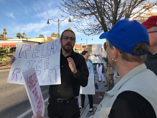 Kenneth Charette, the local organizer of a MoveOn.org protest calling for the full release of a report prepared by Special Counsel Robert S. Mueller into Russian interference in the 2016 election, speaks to fellow protesters outside U.S. Rep. Chris Stewart's St. George office on Thursday, April 4, 2019.